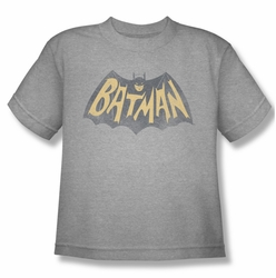 Batman Classic 1966 TV youth teen t-shirt Show Logo heather