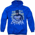Batman Classic TV 1966 pull-over hoodie Theme Song adult royal blue