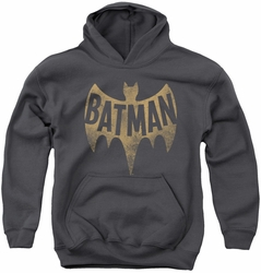 Batman Classic TV 1966 youth teen hoodie Vintage Logo charcoal