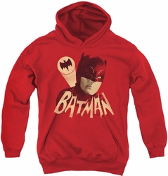 Batman Classic TV 1970 youth teen hoodie Bat Signal red