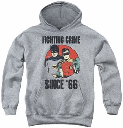Batman Classic TV 1986 youth teen hoodie Since 66 athletic heather