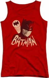 Batman Classic TV juniors tank top Bat Signal red