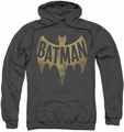 Batman Classic TV pull-over hoodie Vintage Logo adult charcoal