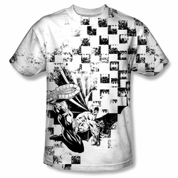 Batman front sublimation t-shirt Checkerboard Kick short sleeve White