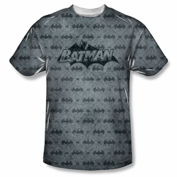 Batman front sublimation t-shirt Classic Bat Argyle short sleeve White