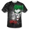 Batman front sublimation t-shirt Joker Sprays The City short sleeve White