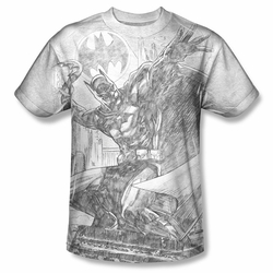 Batman front sublimation t-shirt Pencil Batarang Throw short sleeve White