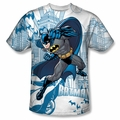 Batman front sublimation t-shirt Skyline All Over short sleeve White