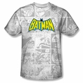 Batman front sublimation t-shirt Vintage Bat Strip short sleeve White