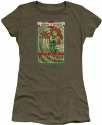 Poison Ivy juniors t-shirt Botanical Beauty military green
