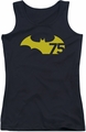 Batman juniors tank top 75 Logo 2 black