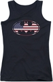 Batman juniors tank top American Flag Oval black