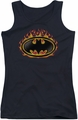 Batman juniors tank top Bat Flames Shield black