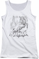 Batman juniors tank top Bat Sketch white