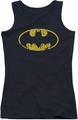 Batman juniors tank top Classic Logo Distressed black