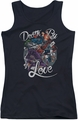 Harley Quinn juniors tank top Death By Love black