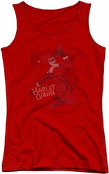 Harley Quinn juniors tank top Harley's Packing red
