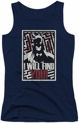 Batman juniors tank top I Will Fnd You navy