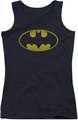Batman juniors tank top Washed Bat Logo black