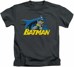 Batman kids t-shirt 8 Bit Cape charcoal