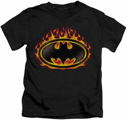 Batman kids t-shirt Bat Flames Shield black