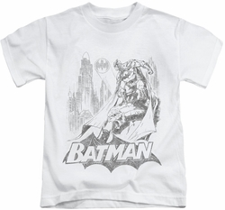 Batman kids t-shirt Bat Sketch white