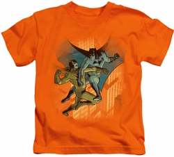 Batman kids t-shirt Batman Vs Catman orange