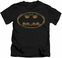Batman kids t-shirt Black & Gold Embossed Shield black