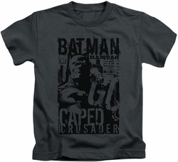 Batman kids t-shirt Caped Crusader charcoal