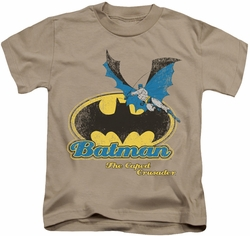 Batman kids t-shirt Caped Crusader Retro sand
