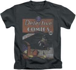 Batman kids t-shirt Detective #27 Distressed charcoal