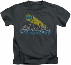 Batman kids t-shirt Gotham City Distressed charcoal