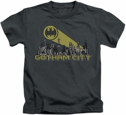 Batman kids t-shirt Gotham Skyline charcoal