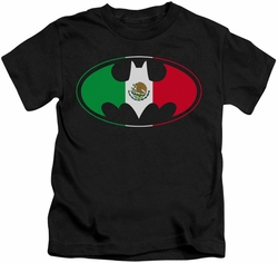 Batman kids t-shirt Mexican Flag Shield black