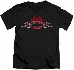 Batman kids t-shirt Steel Flames Logo black
