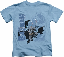 Batman kids t-shirt Throwing Blades carolina blue
