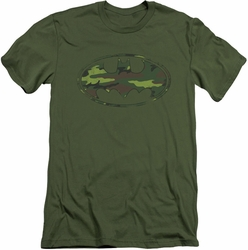Batman Logo slim-fit t-shirt Distressed Camo Shield mens military green