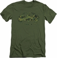 Batman Logo slim-fit t-shirt Marine Camo Shield mens military green