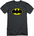 Batman Logo slim-fit t-shirt Pixel Symbol mens charcoal