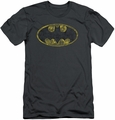 Batman Logo slim-fit t-shirt Tattered Logo mens charcoal