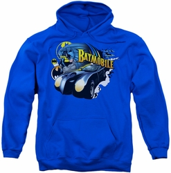Batman pull-over hoodie Batmobile adult royal blue