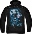 Batman pull-over hoodie Catwoman Moonlight Cat adult black