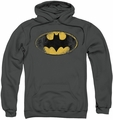 Batman pull-over hoodie Destroyed Logo adult charcoal