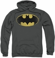 Batman pull-over hoodie Distressed Shield adult charcoal