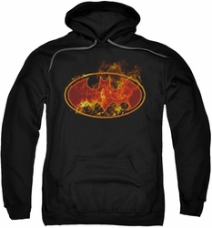 Batman pull-over hoodie Flames Logo adult black