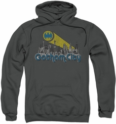 Batman pull-over hoodie Gotham City Distressed adult charcoal