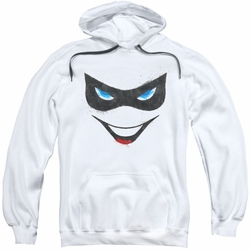 Harely Quinn pull-over hoodie Face adult white