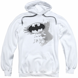 Batman pull-over hoodie I Am Vengeance adult white
