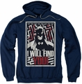Batman pull-over hoodie I Will Fnd You adult navy