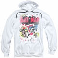 Batman pull-over hoodie Number 11 Distressed adult white
